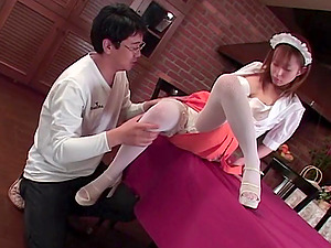Japanese waitress blows a customer and he takes her vagina