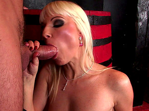 Shiny blonde hair stunner meets a man in the bar and fucks him