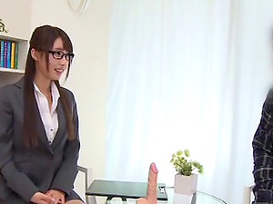 During a job interview a super-cute Japanese woman jacks a stud off