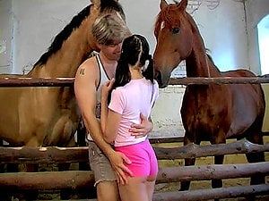 Hot dark-haired Sandy gets fabulously fucked on a farm