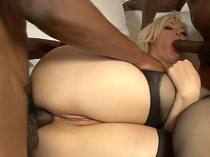 Jizm longing milky whore gives all her fuck holes to Big black cock in a group sex