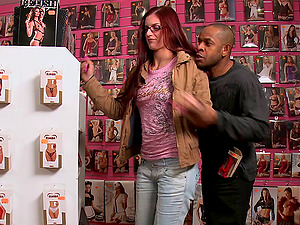 Dark haired cowgirl's visit to the romp plaything store gets a her a big black hard-on deep in her anal invasion