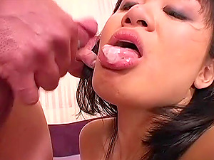 Asian female loves fuckie fuckie as she sits on a milky dick