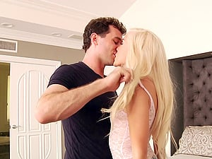 Hard fucking all over the bedroom with a cock-squeezing blonde damsel