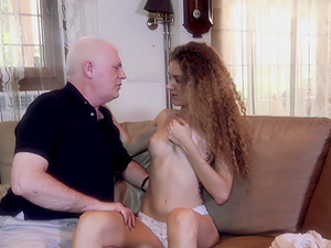 Older grandad gets lucky and fucks a beautiful scarcely legal nubile