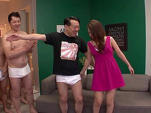 Mass ejaculation joy as a group of boy jizz all over a hot Japanese damsel