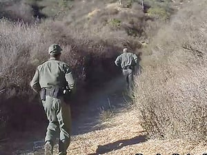 Hot chick gets fucked by the guys at the border patrol