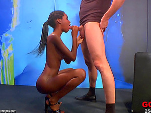 Hot black woman works up a sweat getting fucked on a stage