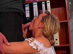 Mature German bitches get drilled hard-core as they drink jizz
