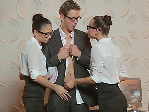 At the office he fucks both his hot assistants at once
