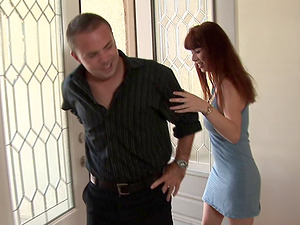 Rubdown honey oils up her big tits and uses them on his man rod
