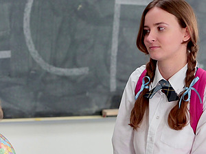 Sandy-haired teenage hoe gets fucked by an older professor in school