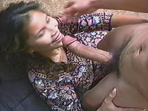 Sassy brown-haired orgasms strongly as she delights the rough missionary banging