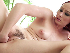 Big fucktoys open up out her cunt for self going knuckle deep joy