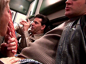 Kinky nurses in fishnet stockings fucking and milking a man's dick