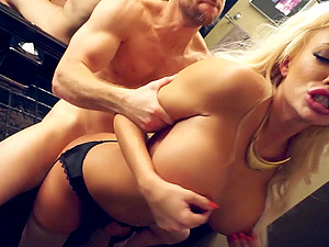 Dirty blonde Cougar with faux big tits loves boys with big hard-ons
