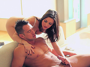 Masturbating tattooed stunner joined by her man and fucked