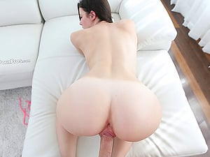Curvy arse brown-haired gf has her hairless meaty vulva drilled
