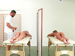 Pair of hot chicks hire a rubdown therapist and have a threesome with him