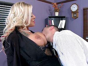 A big titty gal in black fishnet loves thrilling in various positions