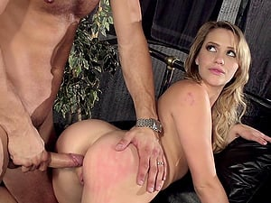 Hot restrain bondage scene involving a stunning blonde being drilled doggystyle