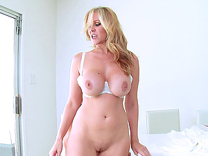 Boy's hot stepmom lets him fuck her mouth, tits and cunt