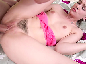 The blindfold comes off and she gets harshly fucked