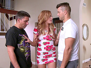 Dirty housewife gets dual penetrated while her hubby is at work