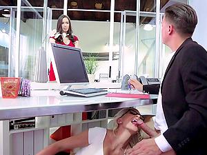 Smoking hot blonde assistant Gigi Allens fucks the manager