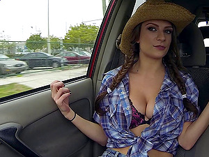 Sexy farm doll deep throats penis in the car and fucks in the grass
