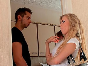Gorgeous blonde engages in the crazy fucky-fucky session with a humid ending