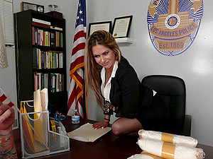 A DEA agent produces some drugs to his chief then fucks her