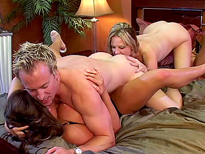 Salacious stunner with amazing hairy twat was penetrated by massive peckers mmf hard-core.