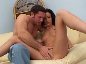 Guys Double penetration the dirty cockslut with a pierced snatch and perky tits