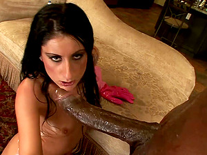 Oiled Sugary Lopez liking a massive black rod penetrating her rectal organ