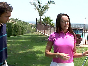 Golfing cougar invites the adorable instructor inwards to fuck her