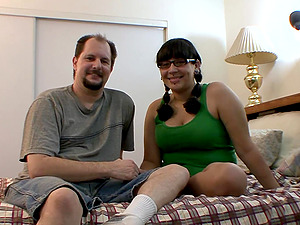 Chubby fledgling duo in their bedroom to film a fuck scene