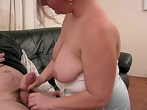 Chubby beauty with talented forearms strokes his man rod erotically