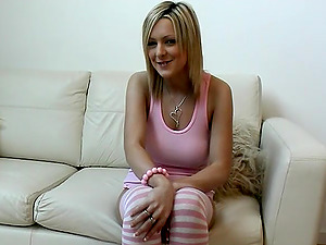 Jessica a nice cutie with Pink Milky Stripey Socks masturbating solo picture