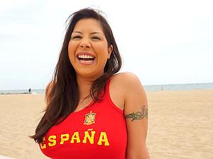 Latina lifeguard uses her big flotation devices to sate him