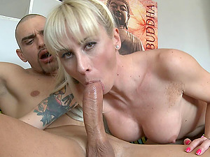 Cock-squeezing doll with a set of faux tits has fine xxx romp