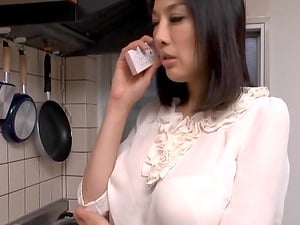 Japanese housewife in a half-top cheats on her passed out hubby