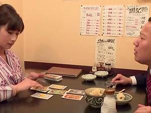 Sushi restaurant waitress blows a customer erotically