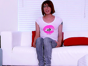 Tugging solo trans honey uses a penis pump on her dick