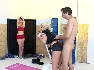 Blonde lezzies spice up their breathtaking session with a stiff shaft