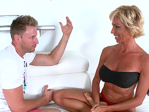 Stacked Mummy in a panty at the beach fucks a junior man