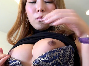 Stunning transsexual bellowing as she strokes her thick rod