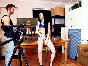 Raunchy black-haired honey getting filmed during the foray