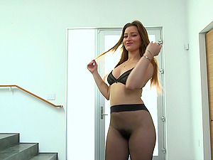 Pantyhose taunt Dani Daniels stripped naked and fucked