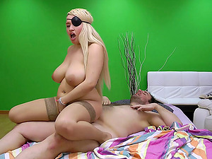 Pirate stunner with large tits penetrated by the horny boy